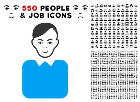 Enjoy bureaucrat vector pictogram with 550 bonus pity and happy people design elements. Human face has gladness emotion. Bonus style is flat black iconic symbols.