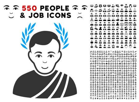 Happy Caesar wreath vector pictogram with 550 bonus pitiful and glad people symbols. Person face has cheerful mood. Bonus style is flat black iconic symbols. Illustration