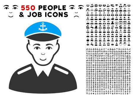 Gladness captain vector icon with 550 bonus pitiful and glad person pictographs. Human face has gladness emotion. Bonus style is flat black iconic symbols.