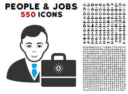 Joy Cardano Accounter vector icon with 550 bonus pitiful and happy men symbols. Person face has smiling emotion. Bonus style is flat black iconic symbols. Ilustracja