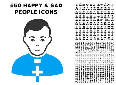 Happiness catholic priest vector icon with 550 bonus sad and happy people icons. Human face has glad mood. Bonus style is flat black iconic symbols.