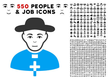 Positive catholic shepherd vector pictograph with 550 bonus pitiful and glad person images. Human face has joyful feeling. Bonus style is flat black iconic symbols.