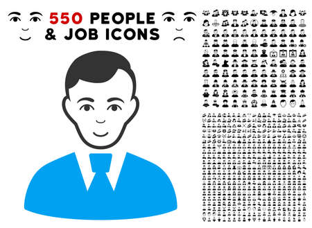 Enjoy Clerk Guy vector pictogram with 550 bonus pity and glad person pictograms. Human face has joy mood. Bonus style is flat black iconic symbols.