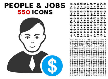 Gladness Commercial Loyer vector icon with 550 bonus pity and glad people icons. Person face has smiling expression. Bonus style is flat black iconic symbols.