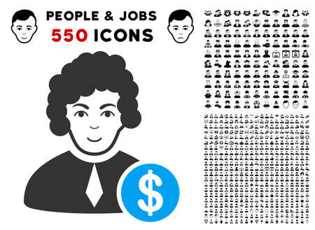 Cheerful Corrupt Judge vector icon with 550 bonus pity and glad person icons. Person face has joy expression. Bonus style is flat black iconic symbols.