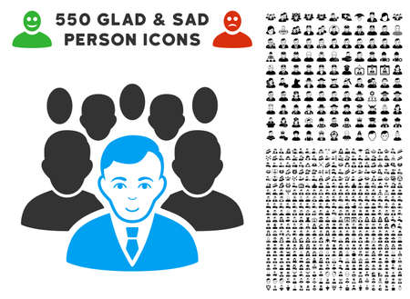 Positive Crowd vector icon with 550 bonus pitiful and happy jobs symbols. Person face has glad emotions. Bonus style is flat black iconic symbols.