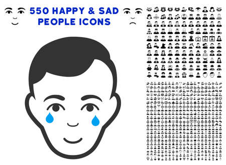 Happiness Crying Man Face vector icon with 550 bonus sad and happy people icons. Human face has glad emotion. Bonus style is flat black iconic symbols. Illustration