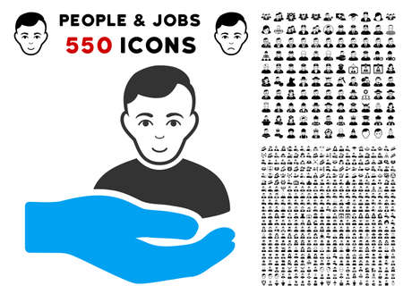 Happy Customer Support Hand vector pictogram with 550 bonus pitiful and happy person design elements. Human face has glad sentiment. Bonus style is flat black iconic symbols.
