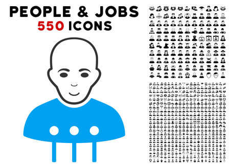 Human face with smiling mood together with other people and jobs icon illustration. Illustration