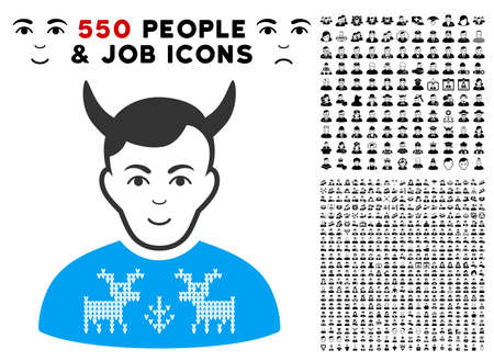Enjoy Deers Pullover Horned Husband vector icon with 550 bonus sad and happy men pictograms. Person face has enjoy feeling. Bonus style is flat black iconic symbols.