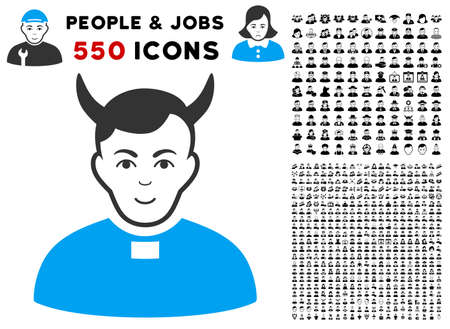 Glad Devil Priest vector pictogram with 550 bonus pitiful and happy user graphic icons. Human face has glad emotions. Bonus style is flat black iconic symbols. Ilustração