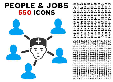 Happiness Doctor Linked Patients vector icon with 550 bonus pity and glad person clip art. Human face has positive sentiment. Bonus style is flat black iconic symbols.