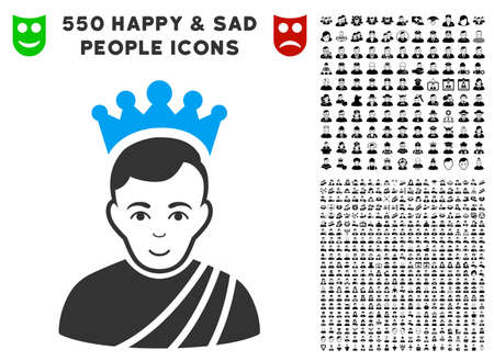 Happy Emperor vector pictograph with 550 bonus sad and glad person design elements. Human face has happy expression. Bonus style is flat black iconic symbols.
