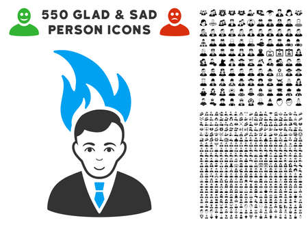 Enjoy Fired Manager vector pictograph with 550 bonus pity and glad men icons. Human face has enjoy expression. Bonus style is flat black iconic symbols.