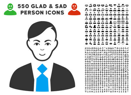 Joyful Fuhrer vector pictogram with 550 bonus pity and glad person pictures. Human face has smiling expression. Bonus style is flat black iconic symbols.