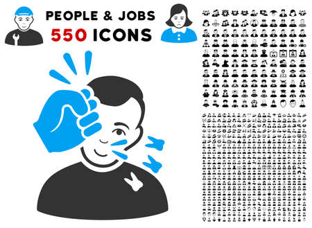 Gladness Head Strike vector pictograph with 550 bonus sad and happy person pictures. Person face has joy feeling. Bonus style is flat black iconic symbols.
