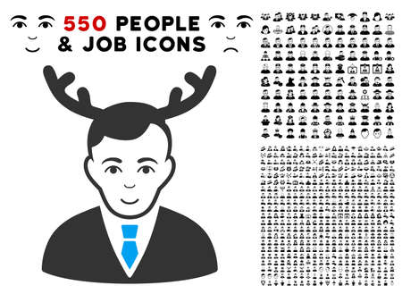 Enjoy Horned Husband vector pictograph with 550 bonus pity and happy people icons. Person face has gladness sentiment. Bonus style is flat black iconic symbols.