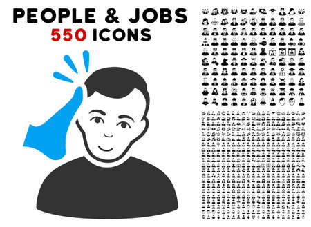 Happy Kickboxer vector pictograph with 550 bonus pity and glad people graphic icons. Person face has gladness emotions. Bonus style is flat black iconic symbols. Illustration