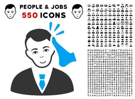 Enjoy Kickboxer Victim vector pictograph with 550 bonus sad and glad people images. Human face has happy mood. Bonus style is flat black iconic symbols.