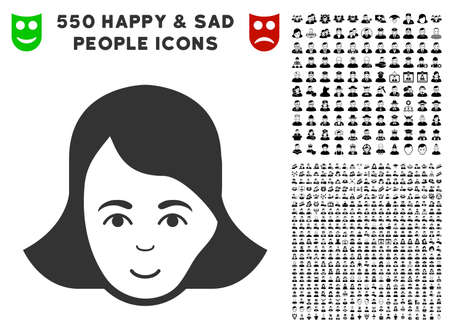 Lady Face vector pictograph with 550 bonus sad and happy people clip art. Illustration