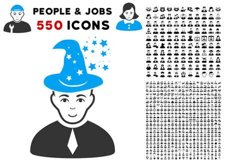 Enjoy Magic Master vector icon with 550 bonus pitiful and glad user clip art. Human face has smiling emotions. Bonus style is flat black iconic symbols.