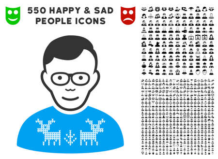 Gladness Nerd Guy vector icon with 550 bonus pity and happy user pictures. Human face has gladness emotion. Bonus style is flat black iconic symbols.