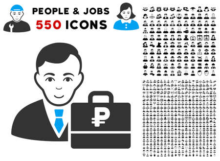 Positive Rouble Accounter vector pictogram with 550 bonus pitiful and glad people design elements. Person face has glad emotions. Bonus style is flat black iconic symbols. Illusztráció