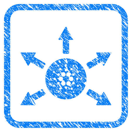 Cardano Distribution Arrows rubber seal stamp watermark. Icon vector symbol with grunge design and dirty texture inside rounded rectangle. Scratched blue sticker on a white background. Illusztráció