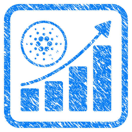 Cardano Growth Up Chart rubber seal stamp watermark. Icon vector symbol with grunge design and corrosion texture inside rounded rectangle.