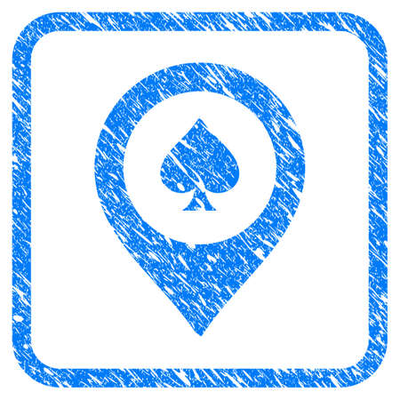 Casino Map Marker grainy textured icon inside rounded square for overlay watermark imitations. Flat symbol with dust texture.