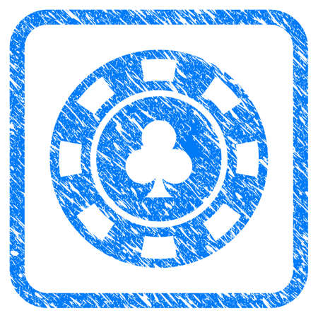 Clubs Casino Chip grunge textured icon inside rounded square for overlay watermark stamps. Flat symbol with dust texture. Framed vector blue rubber seal stamp with grunge design of clubs casino chip. Illustration