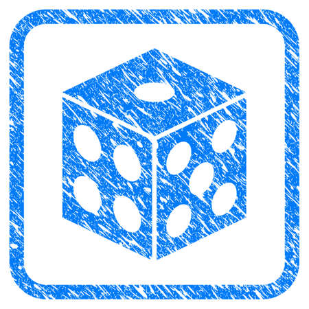 Dice grungy textured icon inside rounded square for overlay watermark stamps. Flat symbol with scratched texture.