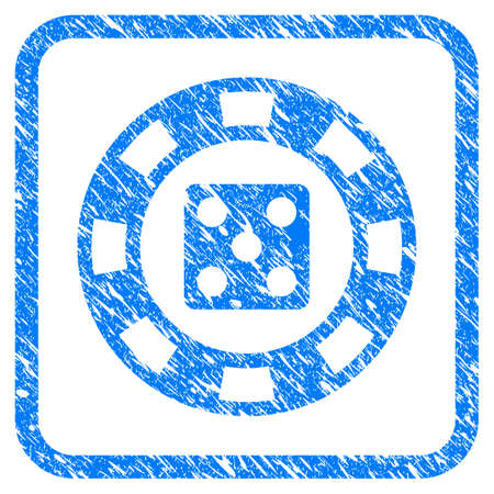 Dice Casino Chip grainy textured icon inside rounded square for overlay watermark imitations. Flat symbol with unclean texture. Illustration