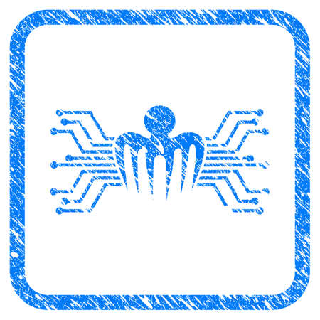 Electronic Circuit Spectre grainy textured icon inside rounded rectangle for overlay watermark imitations. Flat symbol with dust texture. Illustration