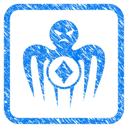 Gambling Spectre Monster grainy textured icon inside rounded square for overlay watermark stamps. Vettoriali