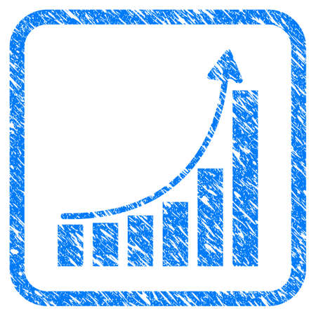 Hyip Bar Chart grungy textured icon inside rounded square for overlay watermark imitations. Flat symbol with dust texture. Framed vector blue rubber seal stamp with grunge design of hyip bar chart.
