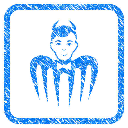 Manager Spectre Devil scratched textured icon inside rounded rectangle for overlay watermark stamps. Flat symbol with unclean texture. Ilustração