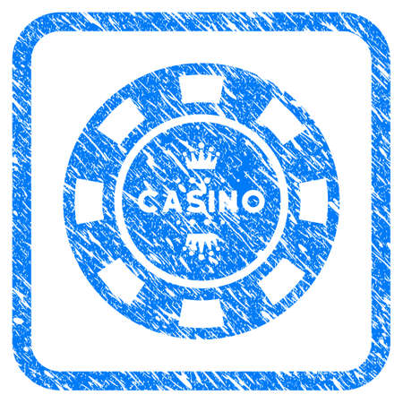 Royal Casino Chip grunge textured icon inside rounded frame for overlay watermark imitations. Flat symbol with dirty texture.