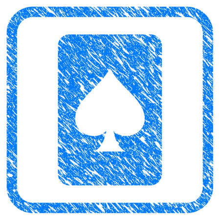 Spades Gambling Card grunge textured icon inside rounded square for overlay watermark imitations. Flat symbol with dust texture.