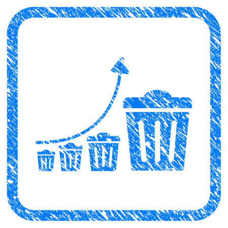 Trash Growing Trend grungy textured icon inside rounded rectangle for overlay watermark imitations. Flat symbol with dust texture.