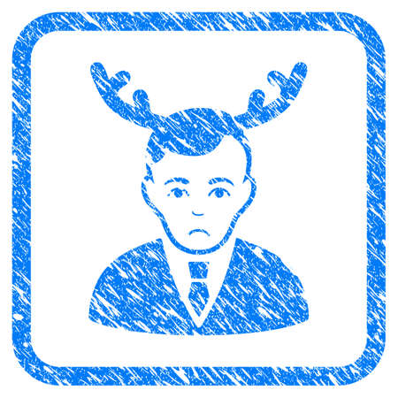 Man with Horn rubber seal stamp imitation. Icon vector symbol with grunge design and corrosion texture inside rounded frame. Scratched blue sticker.