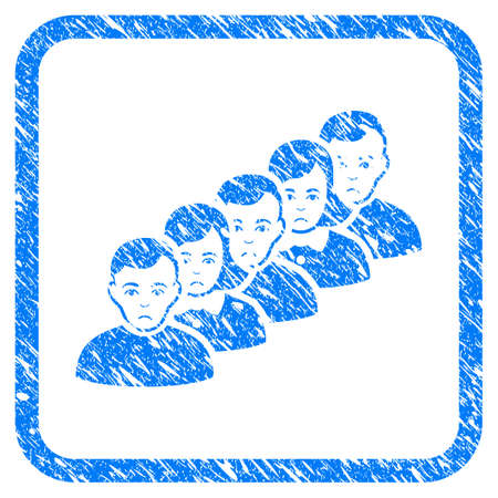 People Queue rubber seal stamp watermark. Icon vector symbol with grunge design and unclean texture in rounded rectangle. Scratched blue sticker.