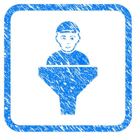 Client Sales Filter rubber seal stamp watermark. Icon vector symbol with scratched design and corrosion texture in rounded frame. Scratched blue sign. Human face has joy feeling. Illustration