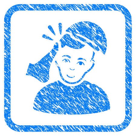 Kickboxer Victim rubber seal stamp watermark. Icon vector symbol with scratched design and unclean texture in rounded square frame. Scratched blue emblem. Boy face has smiling sentiment.