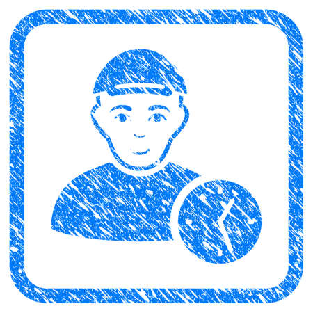 User Time rubber stamp watermark. Icon vector symbol with textured design and unclean texture in rounded square frame. Scratched blue sticker. Guy face has joy mood.