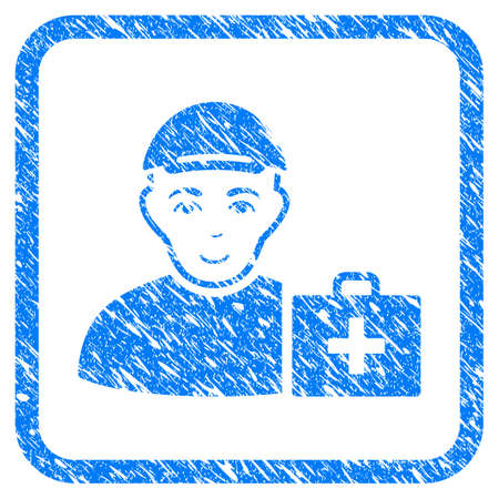 First Aid Man rubber seal imitation. Icon vector symbol with textured design and dirty texture inside rounded squared frame. Scratched blue sign. Boy face has happiness feeling.