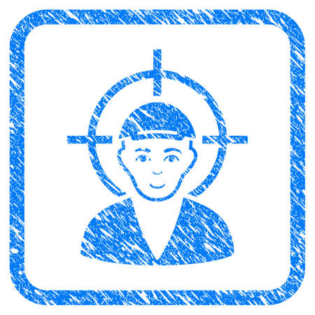 Target Boy rubber seal watermark. Icon vector symbol with scratched design and corrosion texture in rounded square frame. Scratched blue sticker. Human face has joy expression.