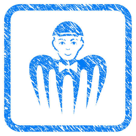Spectre Boy rubber stamp watermark. Icon vector symbol with textured design and unclean texture inside rounded square frame. Scratched blue sign. Person face has enjoy sentiment. Ilustração