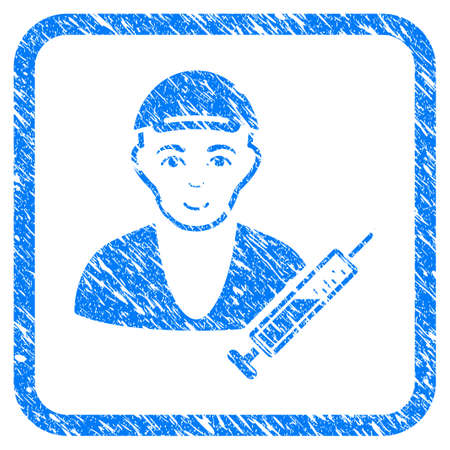 Drug Dealer rubber seal stamp watermark. Icon vector symbol with grungy design and dirty texture inside rounded frame. Scratched blue emblem. Boy face has glad emotion. Иллюстрация