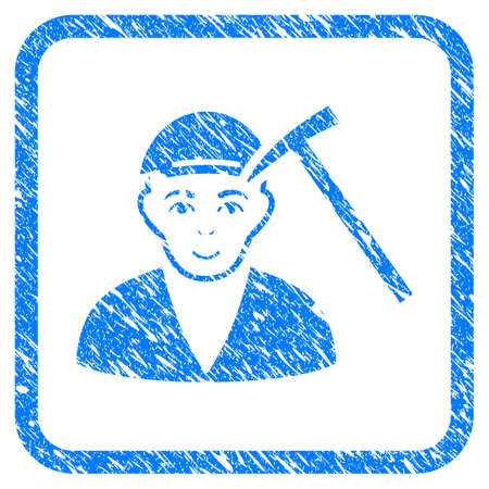 Hammer Victim rubber seal imitation. Icon vector symbol with grungy design and corrosion texture in rounded squared frame. Scratched blue stamp imitation. Boy face has cheerful feeling.